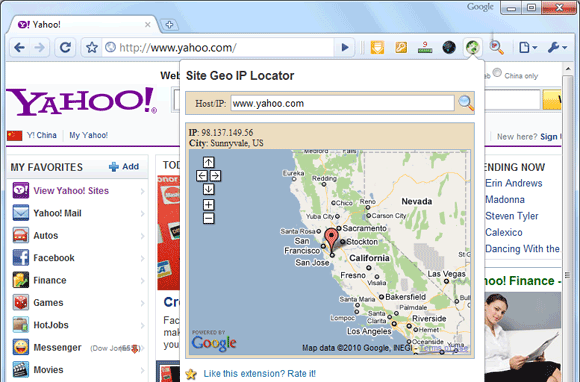 Het screenshot van GEO IP Locator Extension